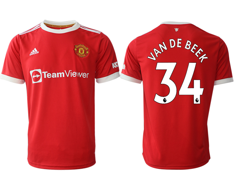 Men 2021-2022 Club Manchester United home red aaa version 34 Adidas Soccer Jersey