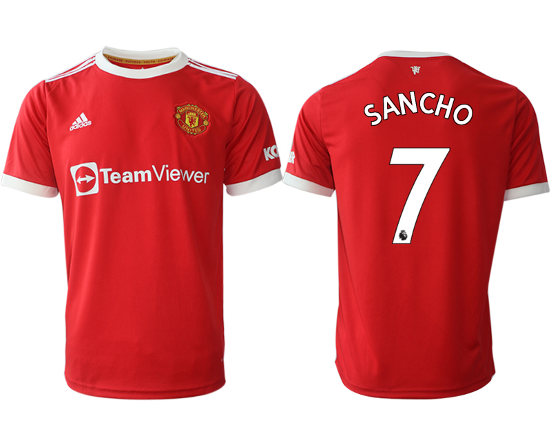 Men 2021-2022 Club Manchester United home red aaa version 7 Adidas Soccer Jersey1