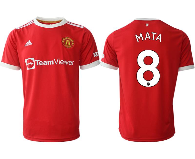 Men 2021-2022 Club Manchester United home red aaa version 8 Adidas Soccer Jersey