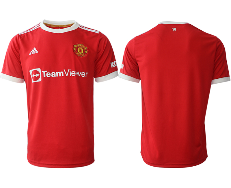 Men 2021-2022 Club Manchester United home red aaa version blank Adidas Soccer Jersey