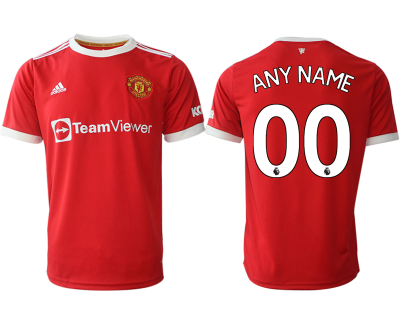 Men 2021-2022 Club Manchester United home red aaa version customized Adidas Soccer Jersey