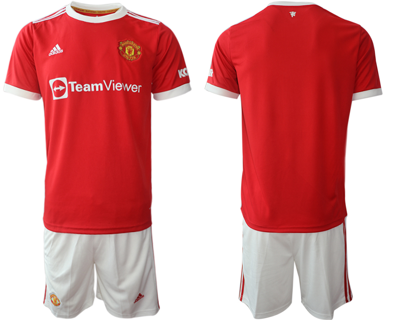 Men 2021-2022 Club Manchester United home red blank Adidas Soccer Jersey