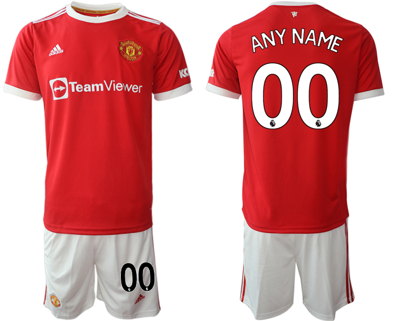 Men 2021-2022 Club Manchester United home red customized Adidas Soccer Jersey