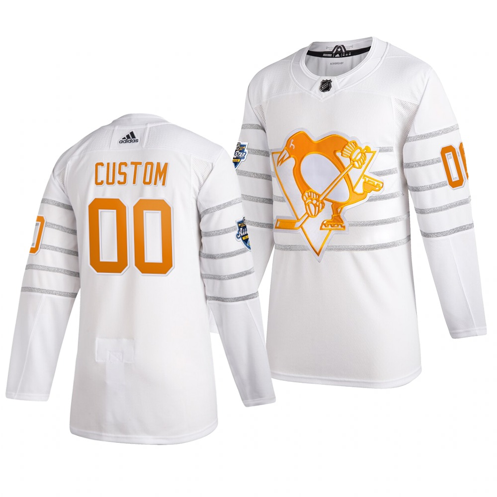 Men's 2020 NHL All-Star Game Pittsburgh Penguins Custom Authentic adidas White Jersey