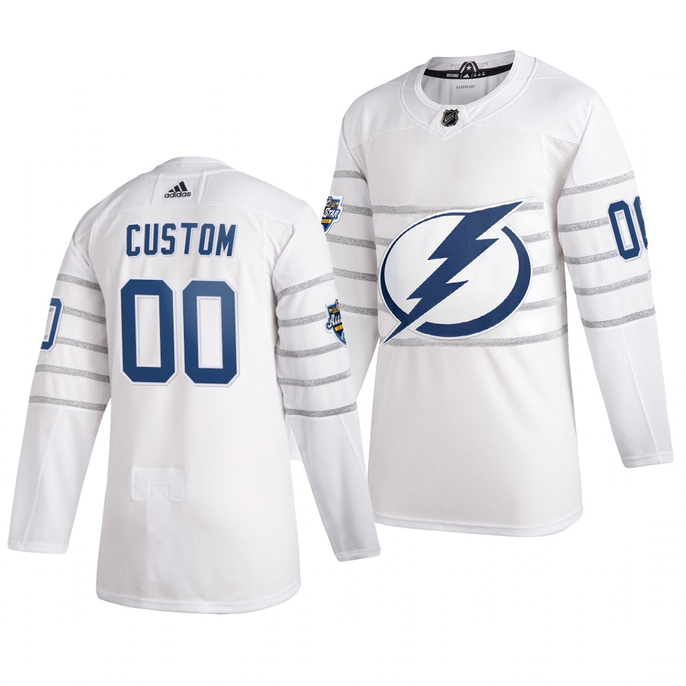 Men's 2020 NHL All-Star Game Tampa Bay Lightning Custom Authentic adidas White Jersey
