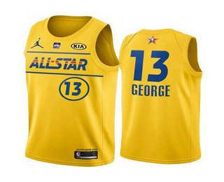 Men's 2021 All-Star #13 Paul George Yellow Western Conference Stitched NBA Jersey