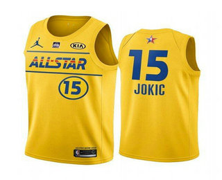 Men's 2021 All-Star #15 ikola Jokic Yellow Western Conference Stitched NBA Jersey
