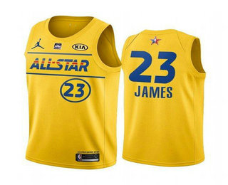 Men's 2021 All-Star #23 LeBron James Yellow Western Conference Stitched NBA Jersey
