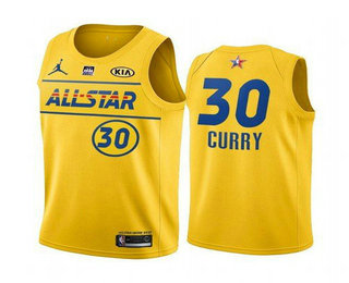 Men's 2021 All-Star #30 Stephen Curry Yellow Western Conference Stitched NBA Jersey