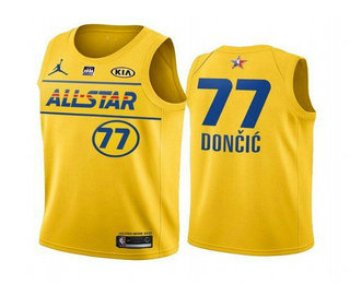 Men's 2021 All-Star #77 Luka Doncic Yellow Western Conference Stitched NBA Jersey