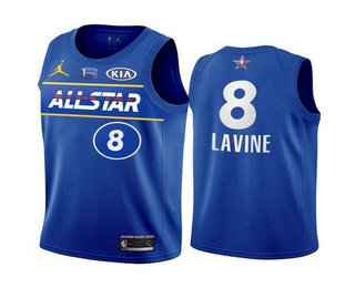 Men's 2021 All-Star Chicago Bulls #8 Zach LaVine Blue Eastern Conference Stitched NBA Jersey