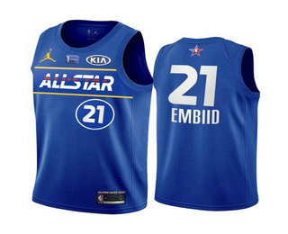 Men's 2021 All-Star Philadelphia 76ers #21 Joel Embiid Blue Eastern Conference Stitched NBA Jersey