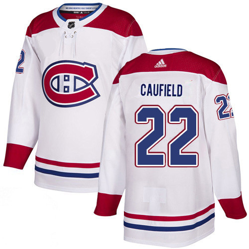 Men's Adidas Canadiens #22 Cole Caufield White Road Authentic Jersey