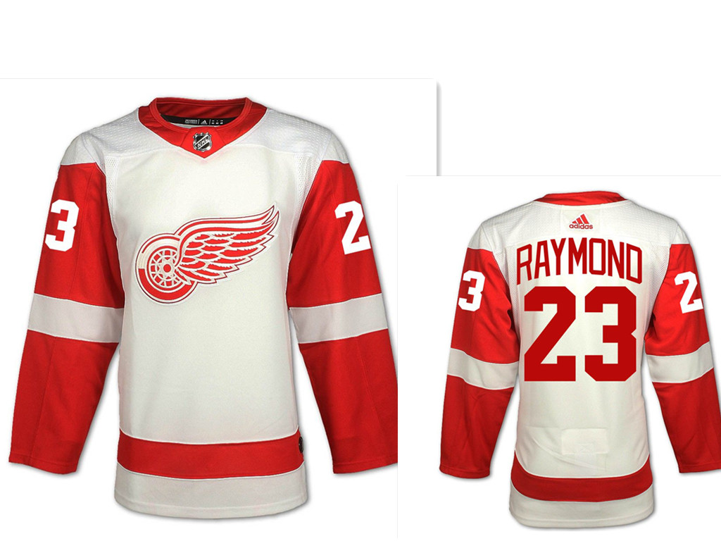 Men's Adidas Detroit Red Wings #23 Lucas Raymond White Road Authentic NHL Jersey