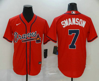 Men's Atlanta Braves #7 Dansby Swanson Red Stitched MLB Cool Base Nike Jersey