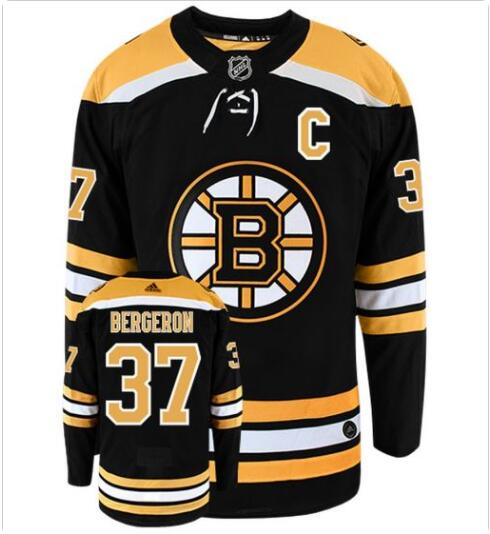 Men's BOSTON BRUINS #37 PATRICE BERGERON with C patch ADIDAS AUTHENTIC HOME NHL HOCKEY JERSEY