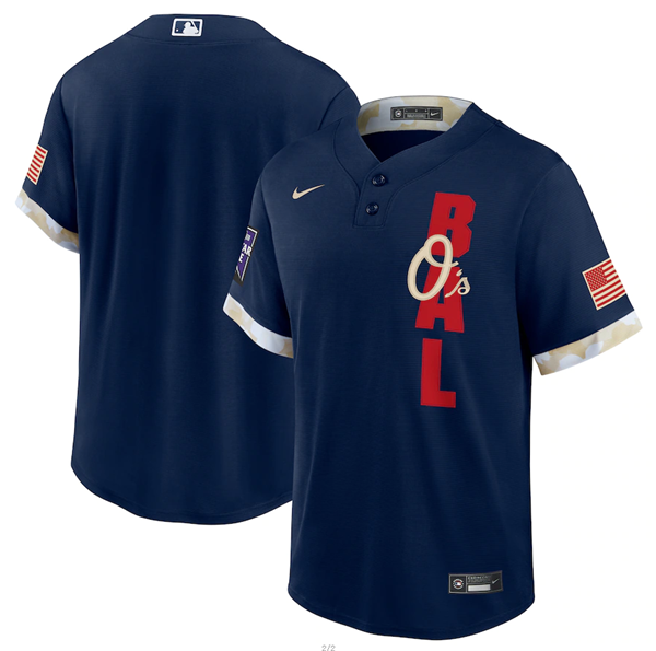 Men's Baltimore Orioles Blank 2021 Navy All-Star Cool Base Stitched MLB Jersey