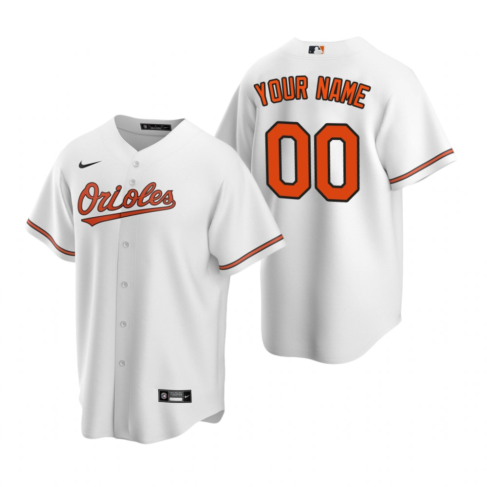 Men's Baltimore Orioles Custom Nike White 2020 Stitched MLB Cool Base Home Jersey