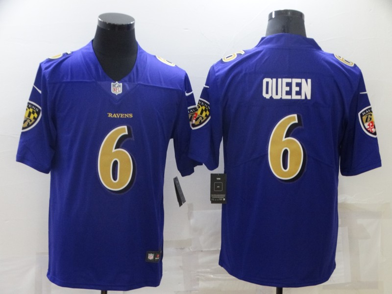 Men's Baltimore Ravens #6 Patrick Queen Purple 2020 Color Rush Stitched NFL Nike Limited Jersey