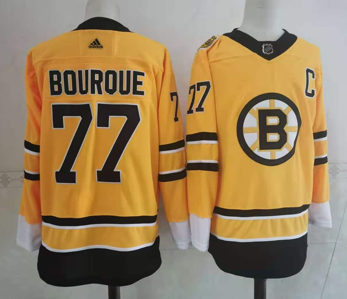 Men's Boston Bruins #77 Ray Bourque Yellow Adidas 2020-21 Stitched NHL Jersey