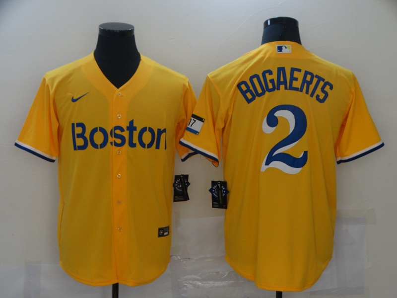 Men's Boston Red Sox #2 Xander Bogaerts Gold No Name 2021 City Connect Stitched MLB Cool Base Nike Jersey