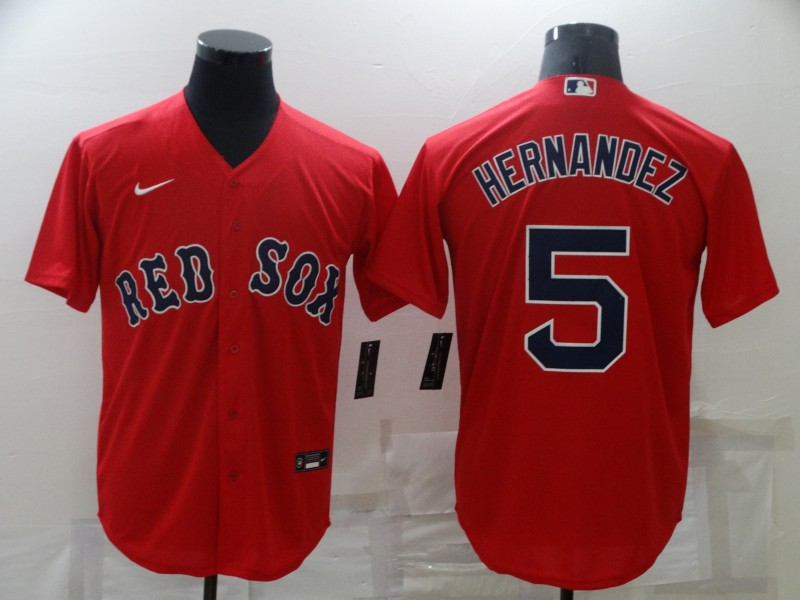 Men's Boston Red Sox #5 Enrique Hernandez Red New Cool Base Stitched Nike Jersey