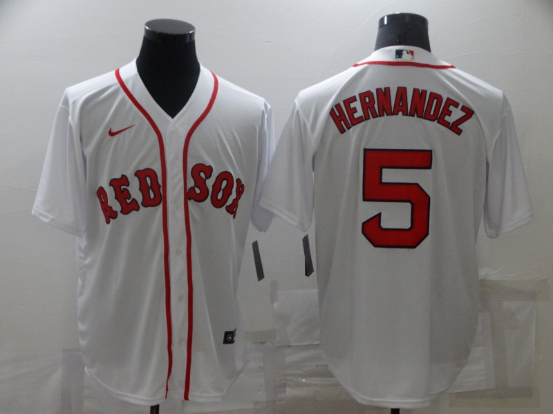 Men's Boston Red Sox #5 Enrique Hernandez White New Cool Base Stitched Nike Jersey