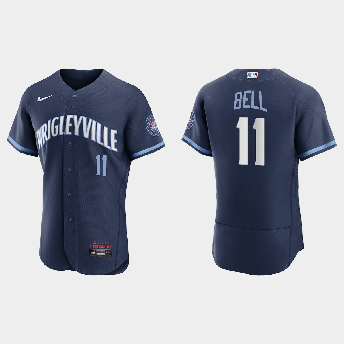 Men's Chicago Cubs #11 George Bell Men's Nike 2021 City Connect Authentic Navy MLB Jersey
