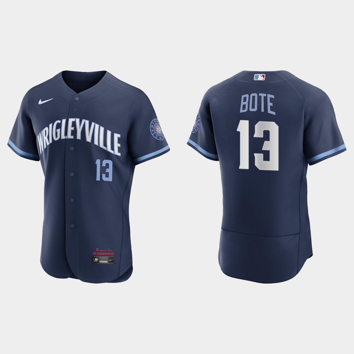 Men's Chicago Cubs #13 David Bote Men's Nike 2021 City Connect Authentic Navy MLB Jersey