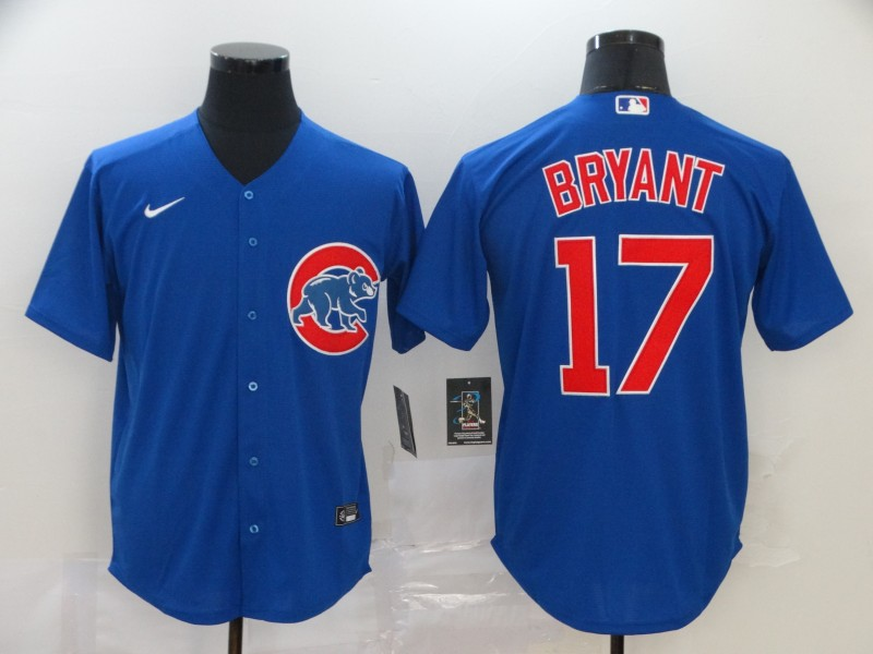 Men's Chicago Cubs #17 Kris Bryant Blue Stitched MLB Cool Base Nike Jersey