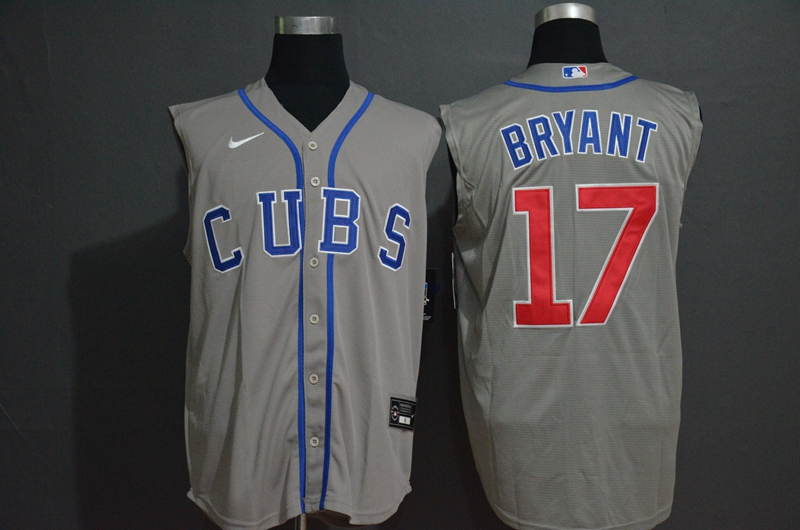 Men's Chicago Cubs #17 Kris Bryant Grey 2020 Cool and Refreshing Sleeveless Fan Stitched MLB Nike Jersey