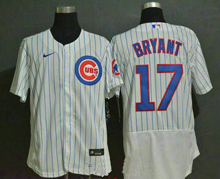 Men's Chicago Cubs #17 Kris Bryant White Home Stitched MLB Flex Base Nike Jersey