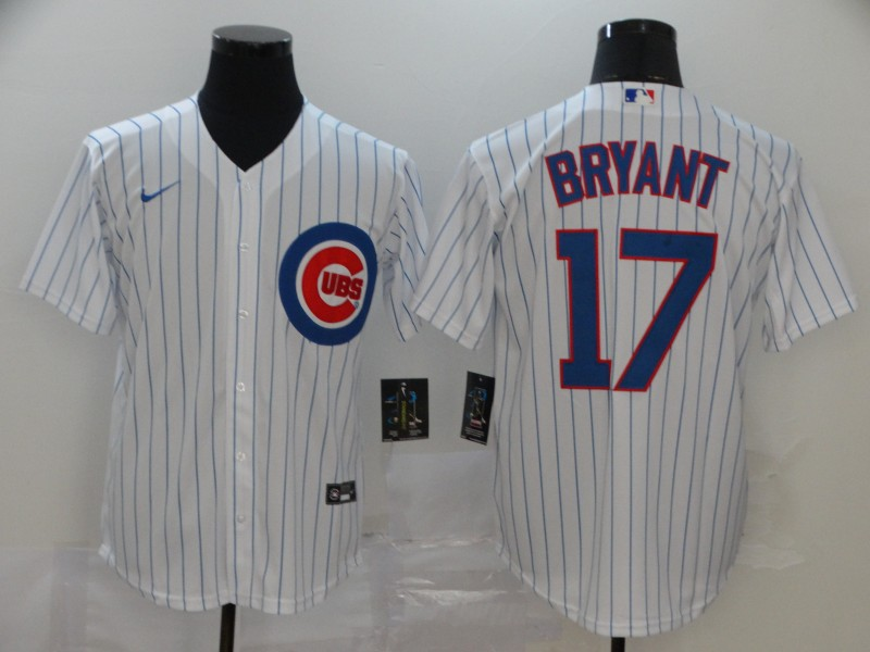 Men's Chicago Cubs #17 Kris Bryant White Stitched MLB Cool Base Nike Jersey