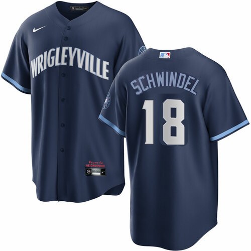 Men's Chicago Cubs #18 Frank Schwindel Nike 2021 City Connect Authentic Navy MLB Jersey