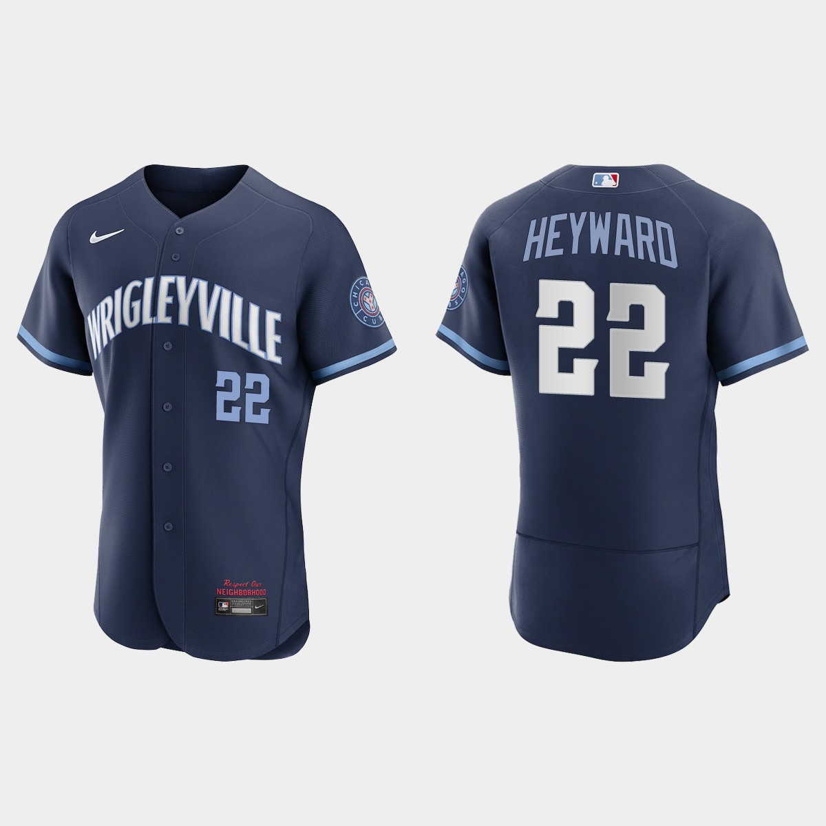 Men's Chicago Cubs #22 Jason Heyward Men's Nike 2021 City Connect Authentic Navy MLB Jersey