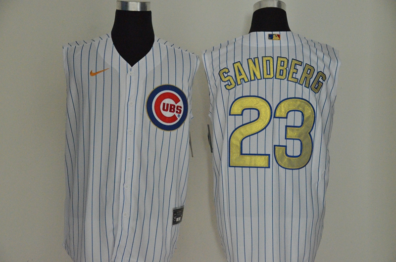 Men's Chicago Cubs #23 Ryne Sandberg White Gold 2020 Cool and Refreshing Sleeveless Fan Stitched MLB Nike Jersey
