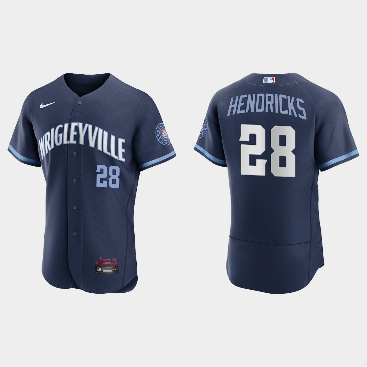 Men's Chicago Cubs #28 Kyle Hendricks Men's Nike 2021 City Connect Authentic Navy MLB Jersey