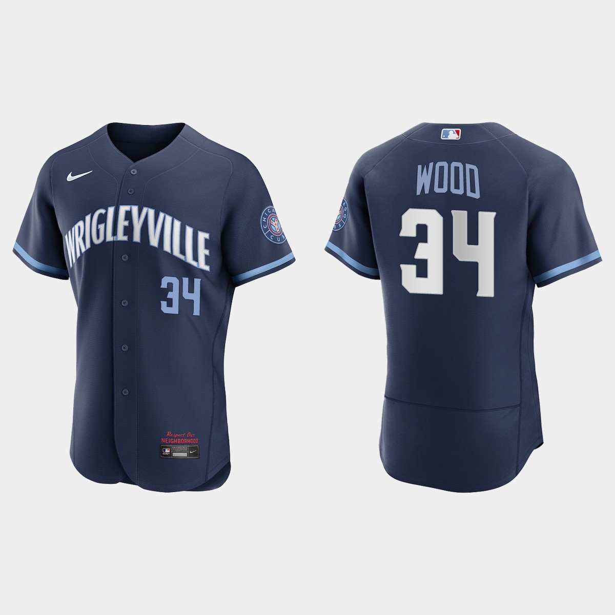 Men's Chicago Cubs #34 Kerry Wood Men's Nike 2021 City Connect Authentic Navy MLB Jersey