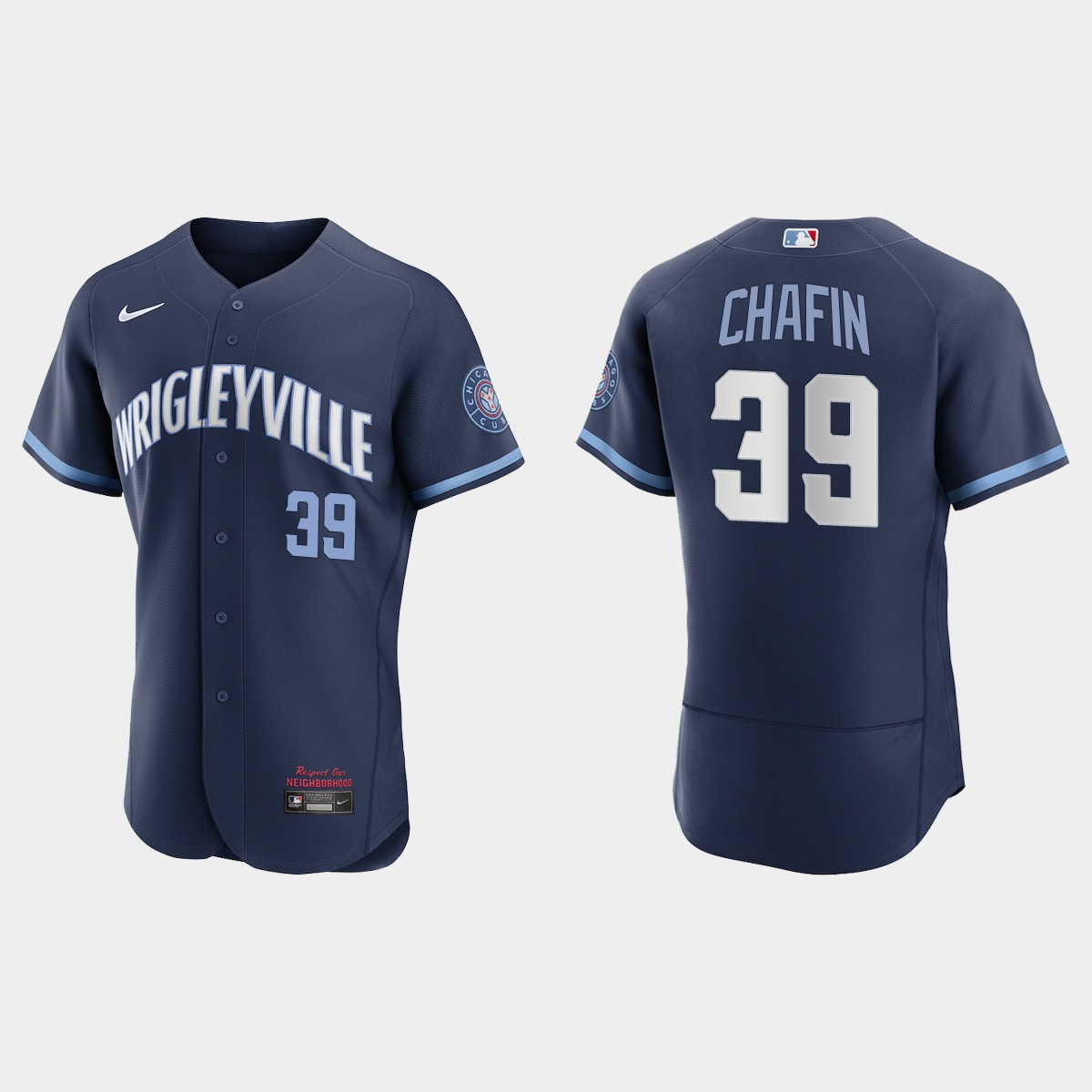 Men's Chicago Cubs #39 Andrew Chafin Men's Nike 2021 City Connect Authentic Navy MLB Jersey