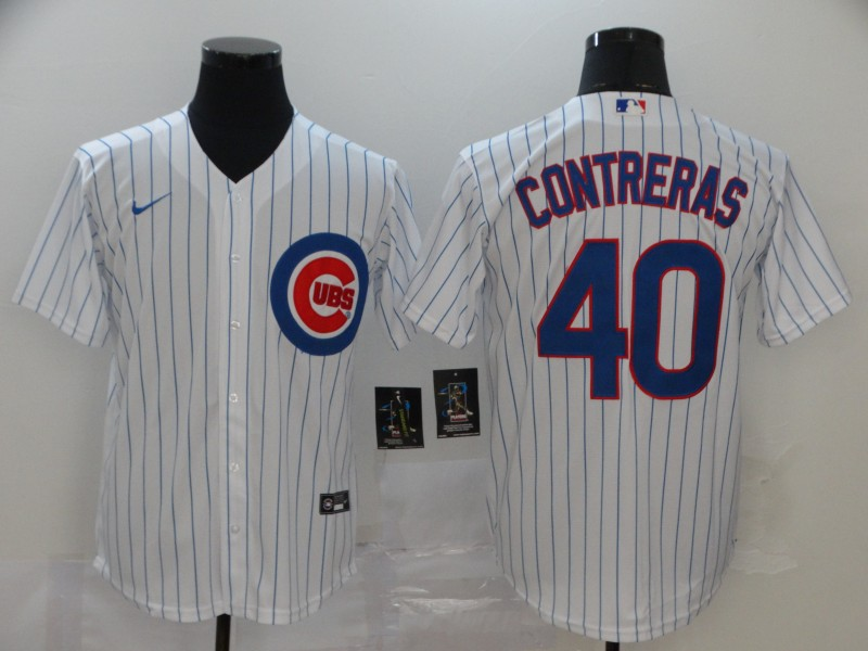 Men's Chicago Cubs #40 Willson Contreras White Stitched MLB Cool Base Nike Jersey