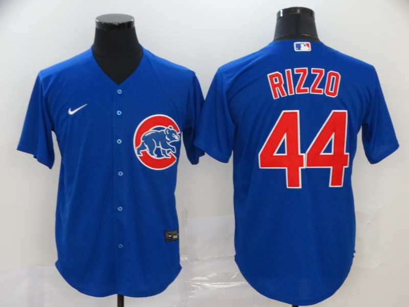 Men's Chicago Cubs #44 Anthony Rizzo Blue Stitched MLB Cool Base Nike Jersey