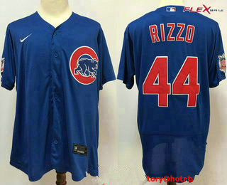 Men's Chicago Cubs #44 Anthony Rizzo Blue Stitched MLB Flex Base Nike Jersey