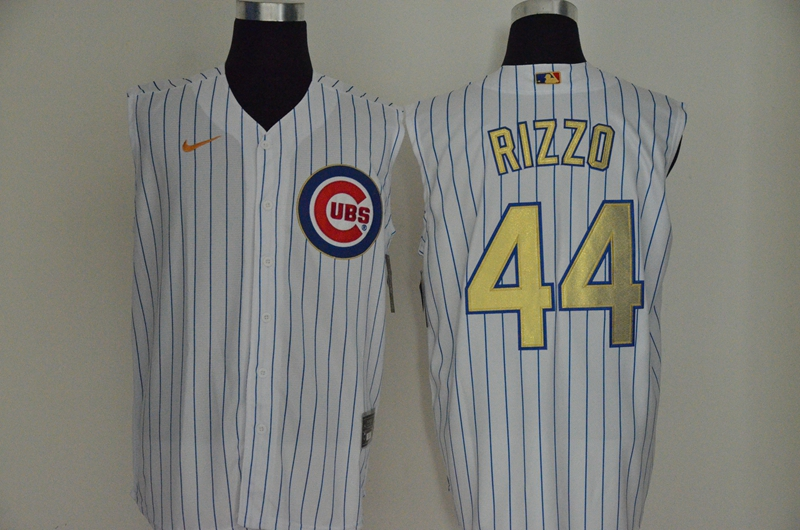Men's Chicago Cubs #44 Anthony Rizzo White Gold 2020 Cool and Refreshing Sleeveless Fan Stitched MLB Nike Jersey