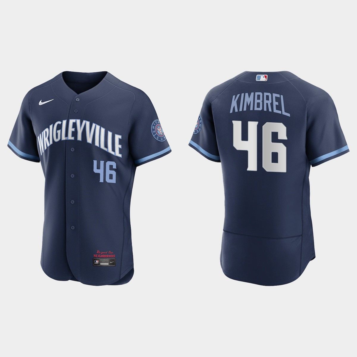 Men's Chicago Cubs #46 Craig Kimbrel Men's Nike 2021 City Connect Authentic Navy MLB Jersey
