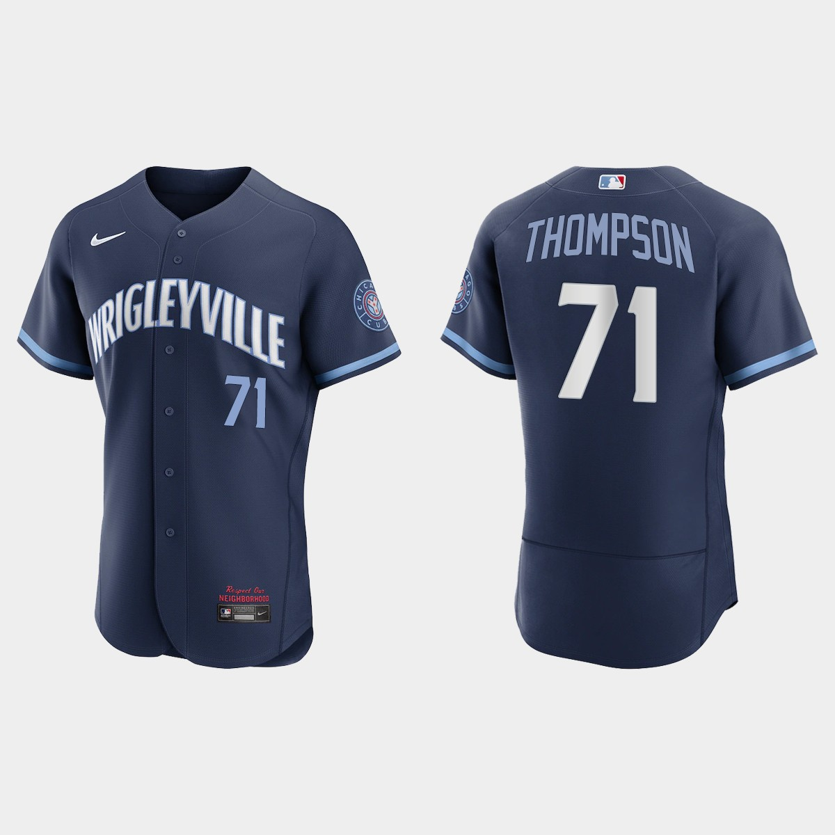 Men's Chicago Cubs #71 Keegan Thompson Men's Nike 2021 City Connect Authentic Navy MLB Jersey