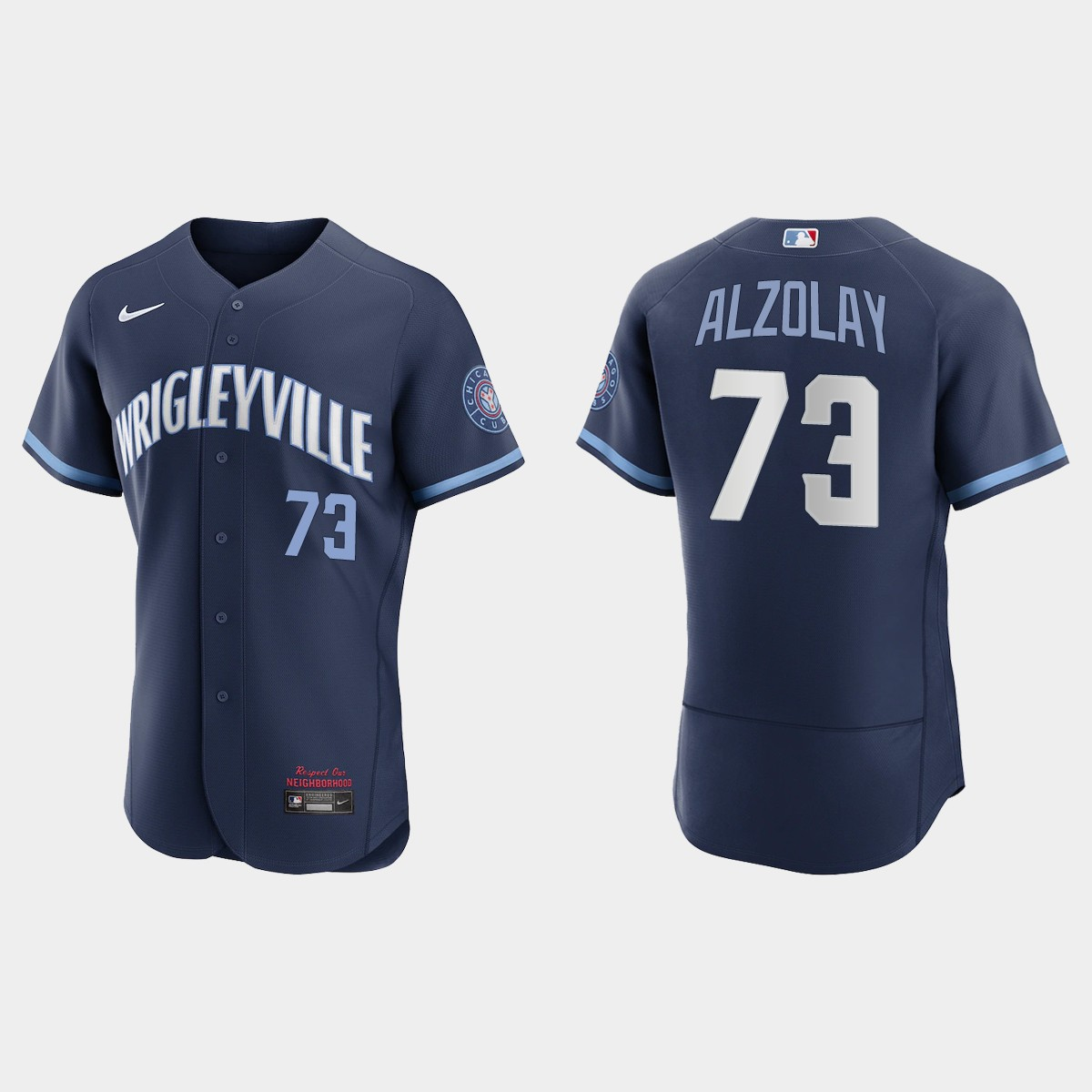 Men's Chicago Cubs #73 Adbert Alzolay Men's Nike 2021 City Connect Authentic Navy MLB Jersey