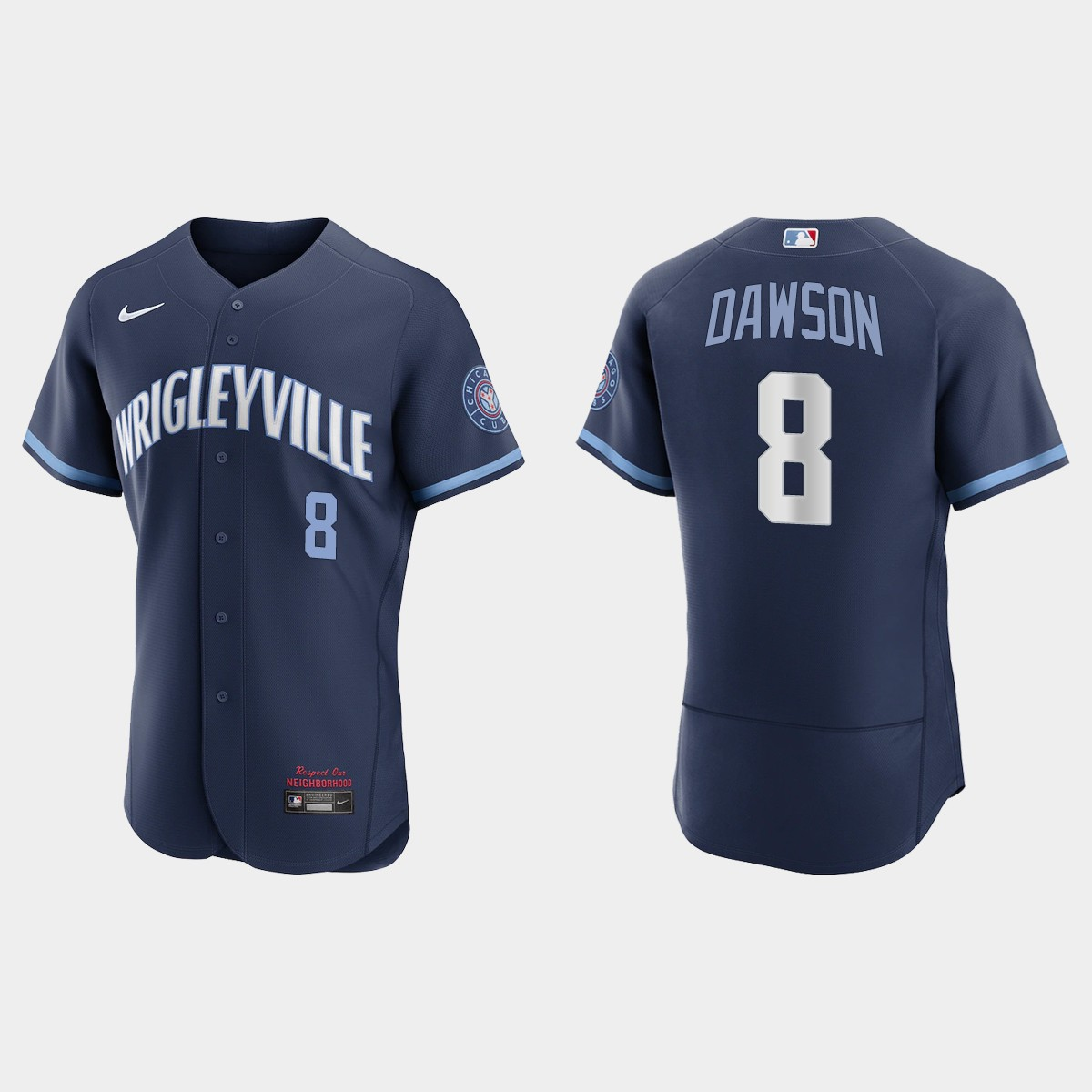 Men's Chicago Cubs #8 Andre Dawson Men's Nike 2021 City Connect Authentic Navy MLB Jersey