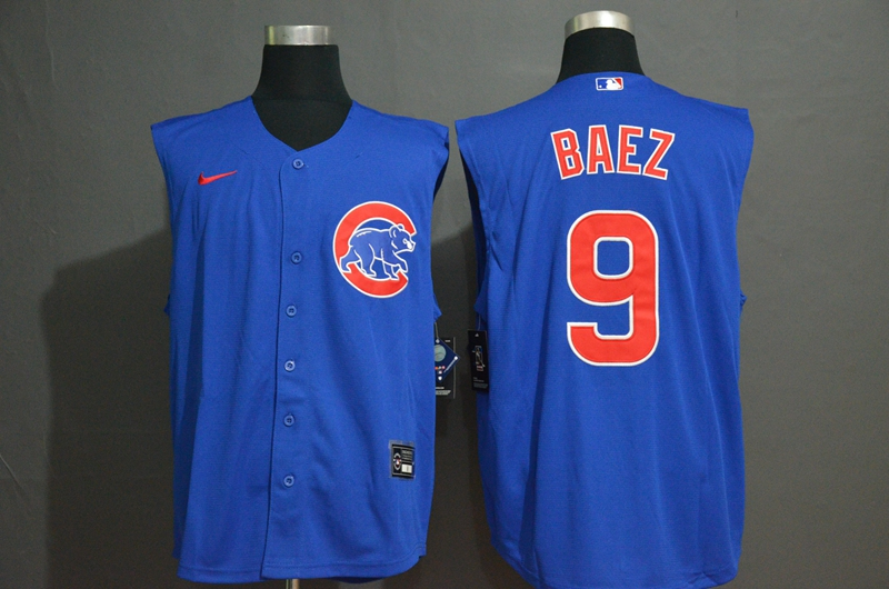 Men's Chicago Cubs #9 Javier Baez Blue 2020 Cool and Refreshing Sleeveless Fan Stitched MLB Nike Jersey