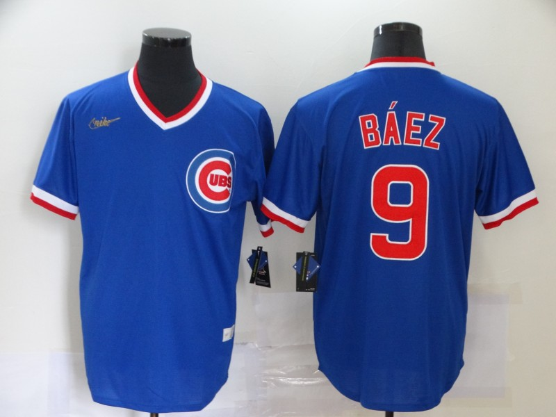 Men's Chicago Cubs #9 Javier Baez Blue Pullover Cooperstown Collection Stitched MLB Nike Jersey