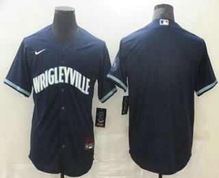 Men's Chicago Cubs Blank Navy Blue 2021 City Connect Stitched MLB Cool Base Nike Jersey